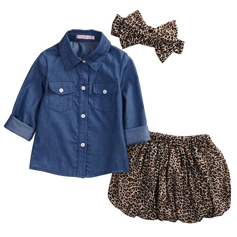 1 2 3 4 5 Years Children Clothing Set Denim Blouse Leopard Skirt Headband 3pcs Kids Suits for Girls Summer Autumn Girls Clothes