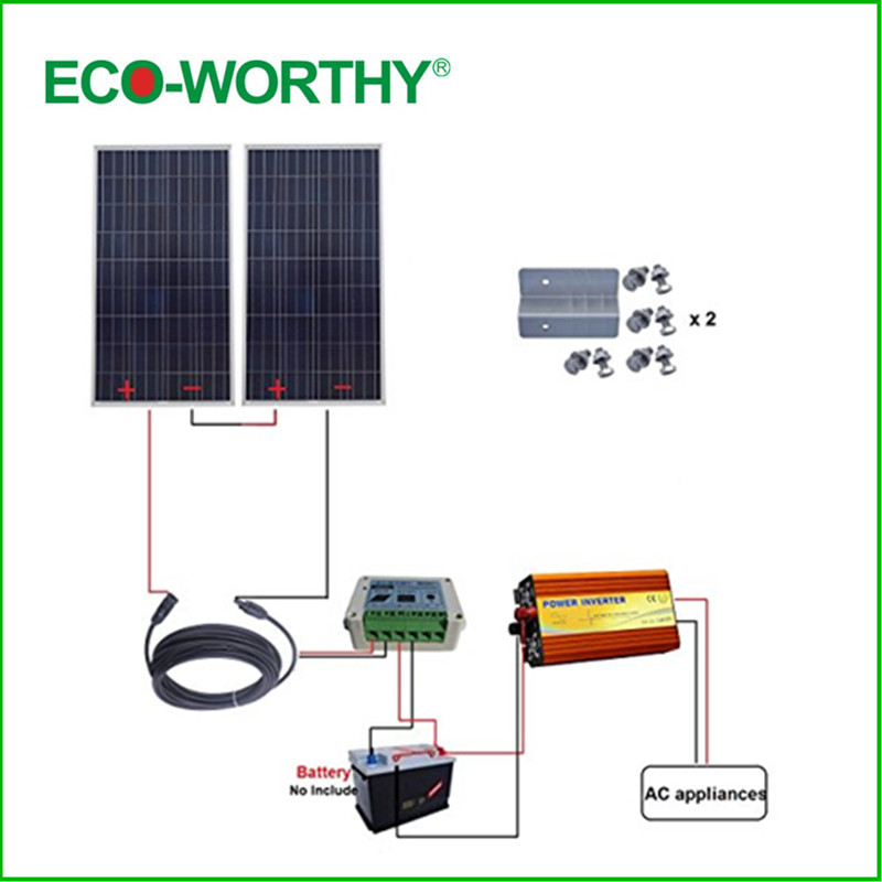 ECO-WORTHY USA UK Stock 2x150W 300W 24V off Grid Solar System w/ Solar Controller 220V Inverter Home Use dc house usa uk stock 300w off grid solar system kits new 100w solar module 12v home 20a controller 1000w inverter