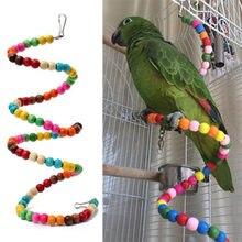 1PCS Pets Birds Toy Parrot Parakeet Cockatiel Scratcher Wood Climb Colorful Cableway Bird Hanging Swing Papegaaien Speelgoed