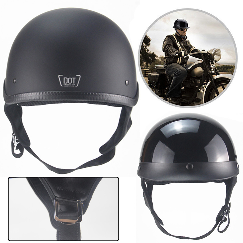 Durable Half Open Face Protect Helmet Baseball Cap with Adjustable Head Strap Black Motorcycle Motorbike Helmet