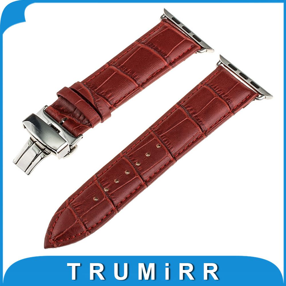 Genuine Leather Watchband 22mm 24mm for iWatch Apple Watch 38mm 42mm Stainless Steel Butterfly Clasp Band Strap Bracelet 4 Color