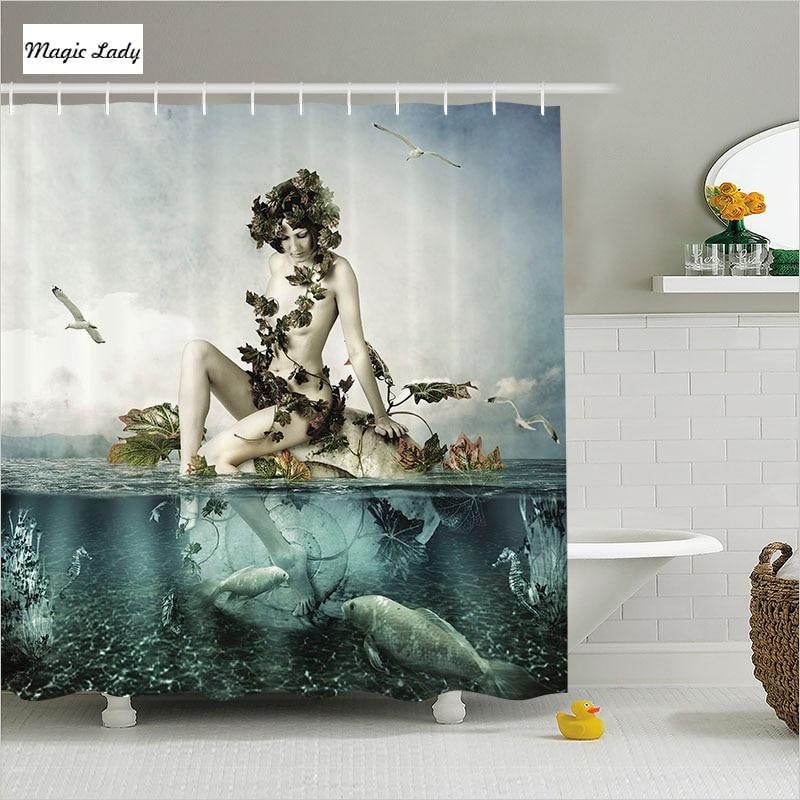 Shower curtain little mermaid bathroom accessories art for Sea green bathroom accessories