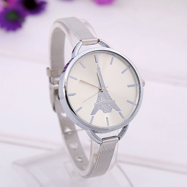 Unique Creative Gold and Silver Steel Strap Design for Charm Women 2017 Luxury N