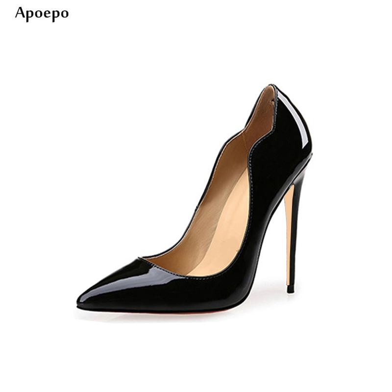 New Super High Club Wearing Heels 2018 Sexy 12CM Heels Woman Pumps Pointed Toe Stiletto Heels Slip-on PU leather High Heels New Super High Club Wearing Heels 2018 Sexy 12CM Heels Woman Pumps Pointed Toe Stiletto Heels Slip-on PU leather High Heels