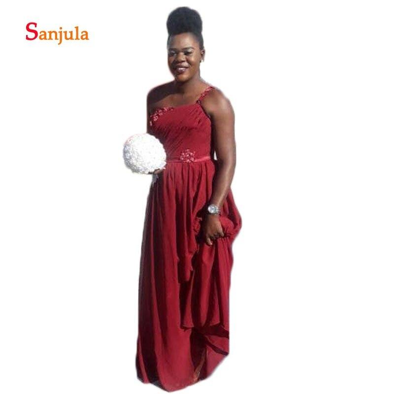 Une épaule bordeaux mousseline de soie robes de demoiselle d'honneur plis perlés robes de mariée africaines robes de boda invitados D540