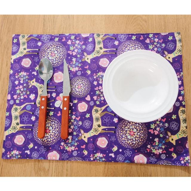 purple blue table mat neverland flower deer plate mat baby feeding