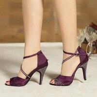 Brand New Latin Dance Shoes with Rhinestone for Women Girls Ladies Satin Indoor Ballroom Tango&Salsa heeled Dropshipping