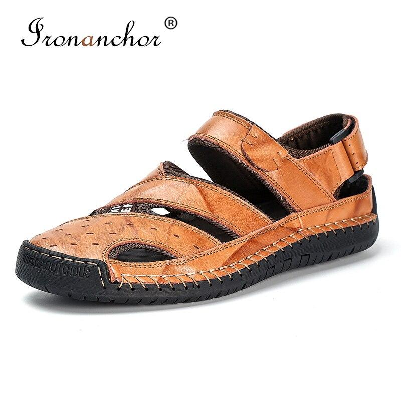 2019 Männlichen Sandalen Aus Echtem Leder Römischen Outdoor-mode Strand Casual Männer Sommer Schuhe # Bya7805 Vertrieb Von QualitäTssicherung