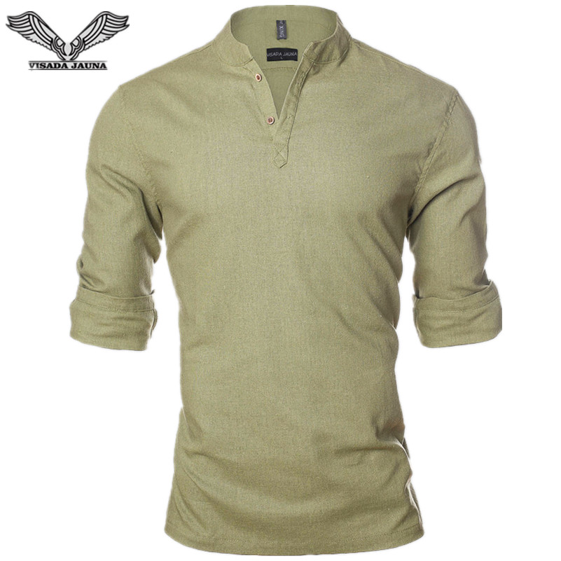 VISADA JAUNA vászon egyszínű férfi ing 2017 új érkezés hétköznapi férfi márka ruházat szociális üzleti ruha ruha Homme N1206