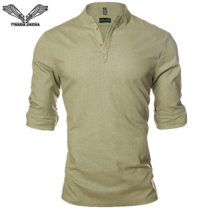VISADA JAUNA Linnen Effen Kleur Mannen Shirt 2017 Nieuwe Collectie Casual Mannelijke Merk Kleding Sociale Zakelijke Jurk Chemise Homme N1206