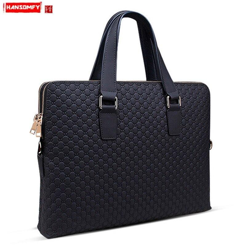New Genuine Leather Men Handbag Business Briefcase Cross Section Shoulder Diagonal Blue/Black Bag Male 14