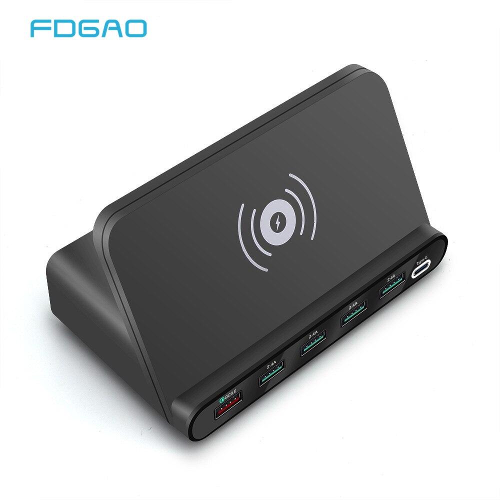 Carga rápida 3,0 USB tipo C HUB PD Qi cargador inalámbrico 60W 7 en 1 adaptador de teléfono para MacBook iPhone Samsung Huawei Xiaomi Airpods