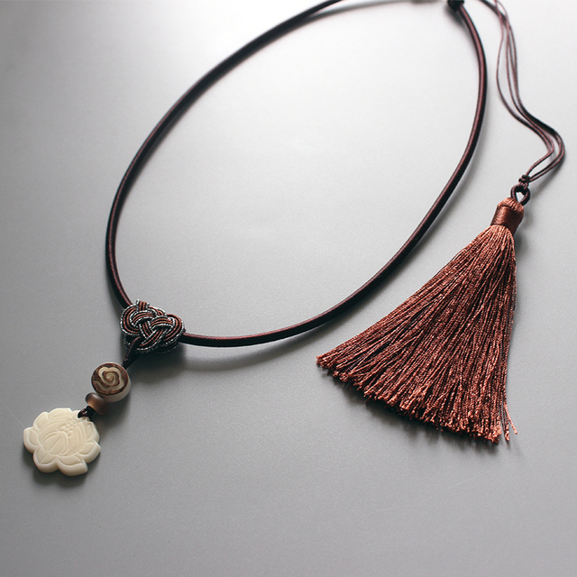 Wholesale Chinese Ethnic Necklace With Handcarved Lotus Flower Tagua Nut Pendant Traditional Rope Torques Handmade Elegant Gift