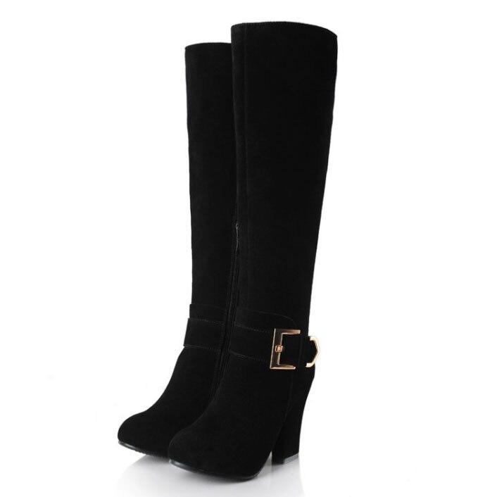 ФОТО Free shipping 2017 brand winter Nubuck Genuine Leather Knee High boots sexy heel boots ladies snow boots thick heel dress shoes