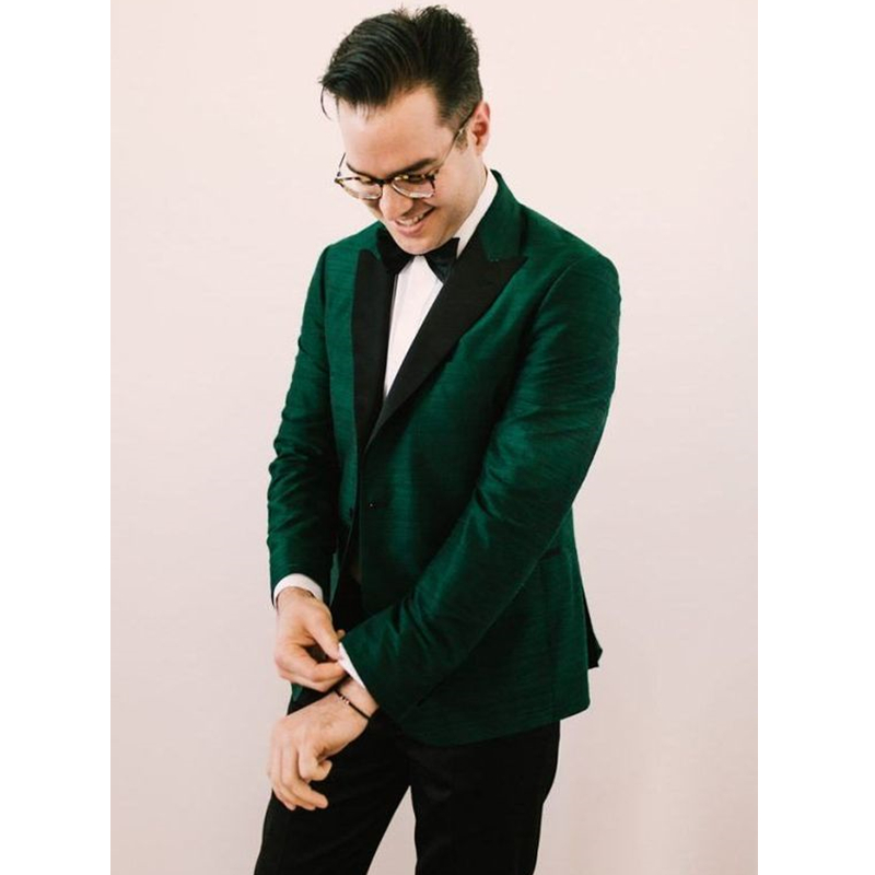 New Style Green Satin Men Suits Groom Tuxedos Slim Fit 2 Piece Custom Wedding Suits For Men  Prom Men Blazer (Jacket+Pants)
