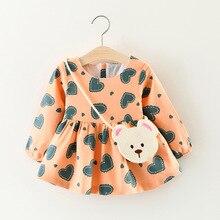 Baby girl dress 2018 Spring Summer Heart Cotton Princess Dress Puff Long sleeve Cute Fashionable Infant girls Dresses 0-3 Years