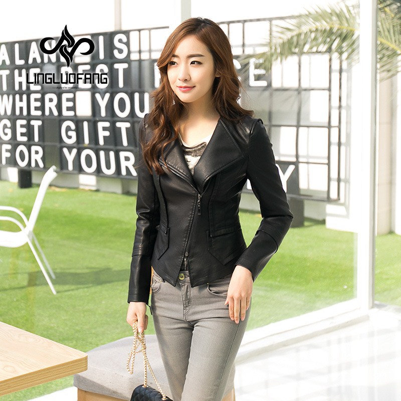 spring and autumn   leather   jacket for women Long sleeve stitching zipper faux   leather   jackets young girl black coat s-2XL 15H119