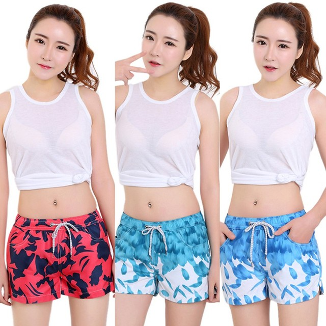 2017 New Arrive Quick-drying Surfing Print Shorts Board Shorts For Lady Beach Short Feminino Plus Size XXL