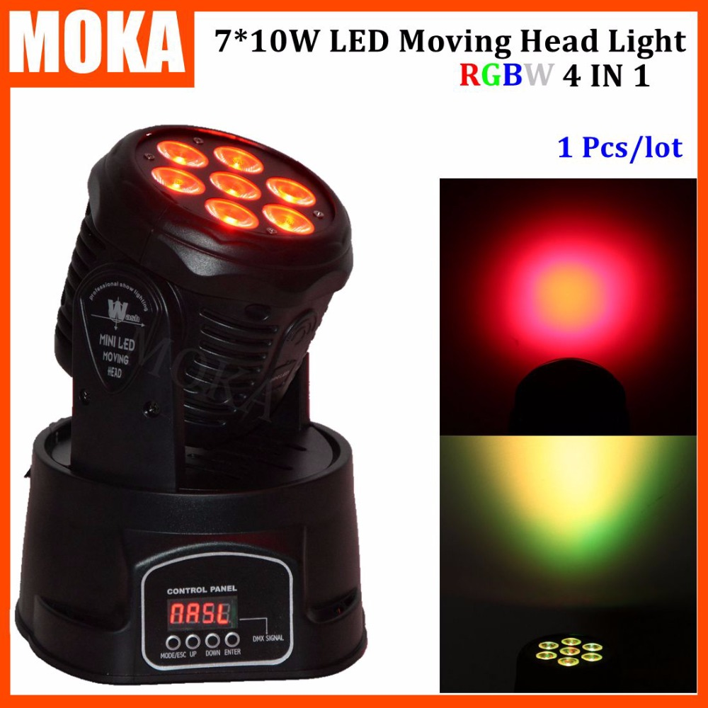 1 Pcs/lot  7*10W RGBW 4in1 Mini moving head led 90w sopt moving head light for Dj Bar Club Party wedding decoration gipfel 0306 gipfel противень для выпечки mist 39 7x25x2 5 см с антипригарным покрытием ксилан