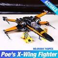 2016 ЛЕПИН 05004 Star Wars Первый Заказ эдгара по X-wing Истребитель Собраны Игрушки Строительный Блок Совместим С подарком 75102