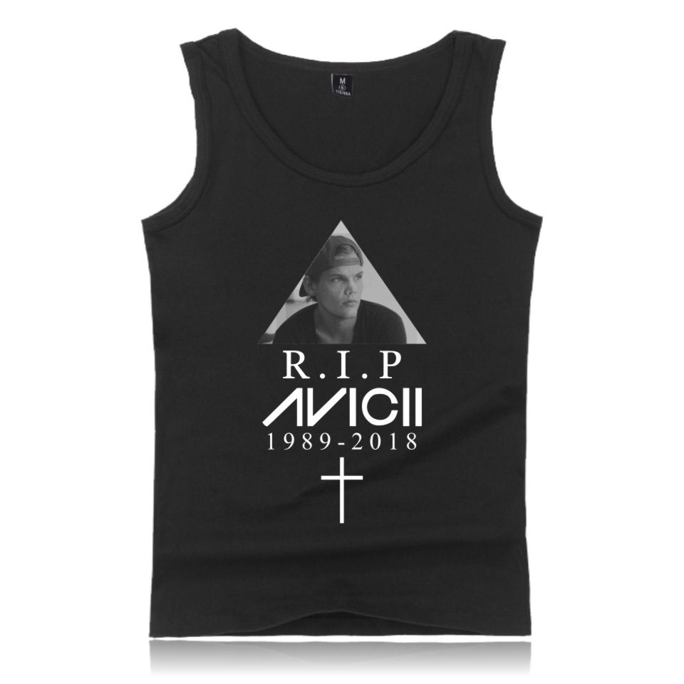 LUCKYFRIDAYF 2018 DJ Avicii R.I.P. Summer Sleeveless Print Tank Tops Men/Women Workout Hip Hop Casual Style Vests Plus Size 4XL
