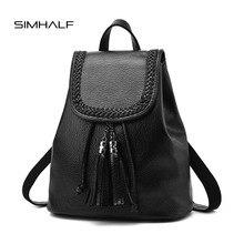 Simhalf кисточкой Женщины кожаный рюкзак подростковые рюкзаки для девочек винтажные Женские Рюкзак Школьные Сумки sac DOS Femme Mochilas