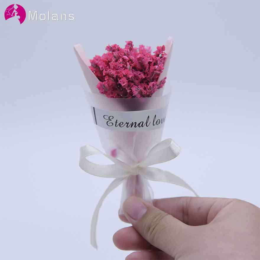 MOLANS Mini Crystal Grass Bouquet For Lipstick Cosmetic Gift Small Fancy Dried Flower With Silk Bow Ribbon Photograph Decoration