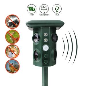Image 2 - Solar Powered Animal Repeller Waterproof PIR Sensor Outdoor Garden Anti Cat Dog USB Ultrasonics Solar Alarm Drive Repeller