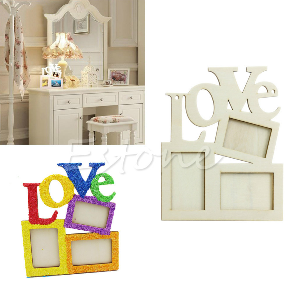 Hot Sweet Wooden Hollow Love Photo Picture Frame Home Decor Art Diy Gift New Free Shipping In