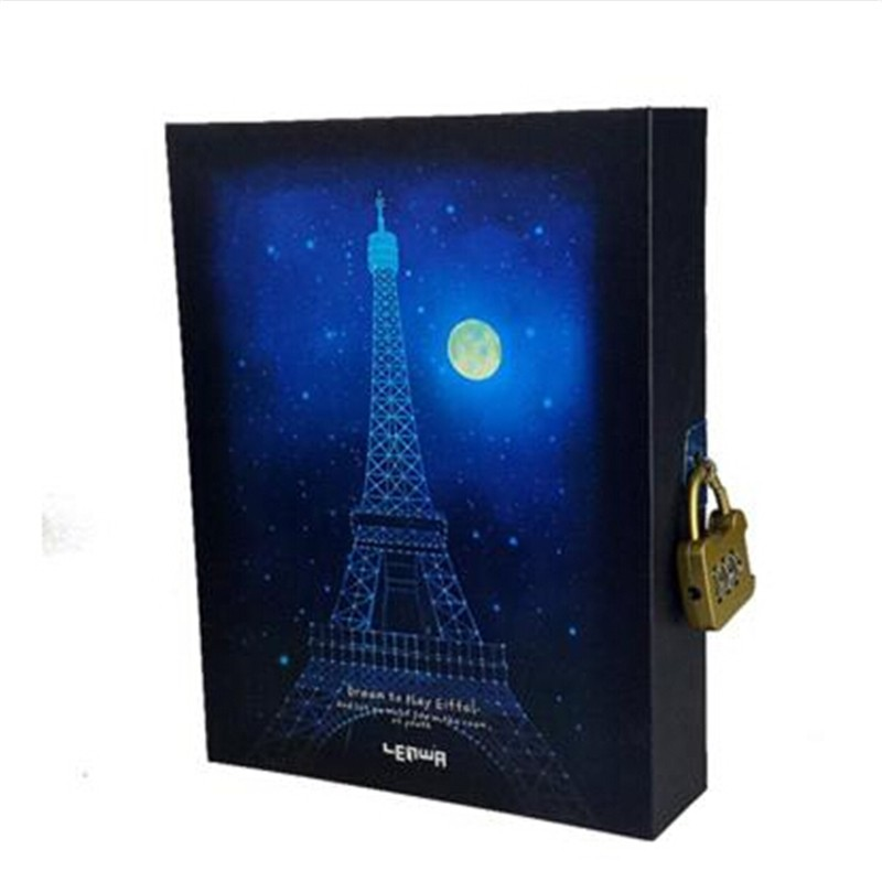 Noctilucous Dream Blue Moon Paris Delicate Diary With Lock Notebook ...