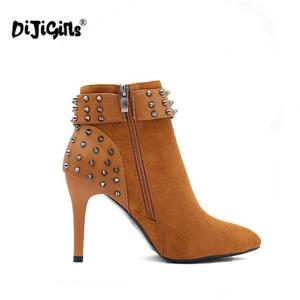 Image 5 - Autumn Winter Women Boots zip High Heels Boots Fashion Sexy Pointed Toe Ankle Boots High Heels Botas Mujer Rivet Drop Shipping