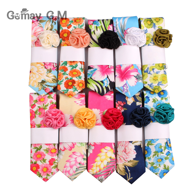 Fashion Floral Ties For Men Casual Mens Neck Ties For Party Flower Cotton Neckties Printed Male Tie And Suits Brooch Sets