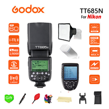 лучшая цена Godox TT685N 2.4G HSS 1/8000s i-TTL GN60 Wireless Speedlite Flash + Xpro-N Transmitter for Nikon D800 D700 D7100 D5200 D5100 D70
