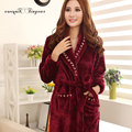 2016 new arrival womens robes full sleeve long solid color plus size fleece bath robe winter warm sleepwear