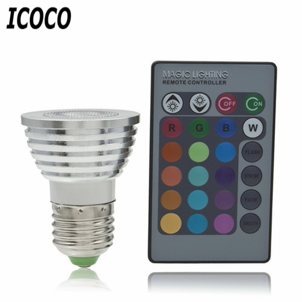 5W E27 Multi Color Change RGB LED Light Bulb Lamp with Remote Control Ultra Bright Environment-friendly No UV IR radiation Sale