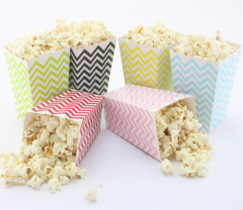 free dhl 720pcs mixed paper popcorn chevron party favor boxesmovie theatre