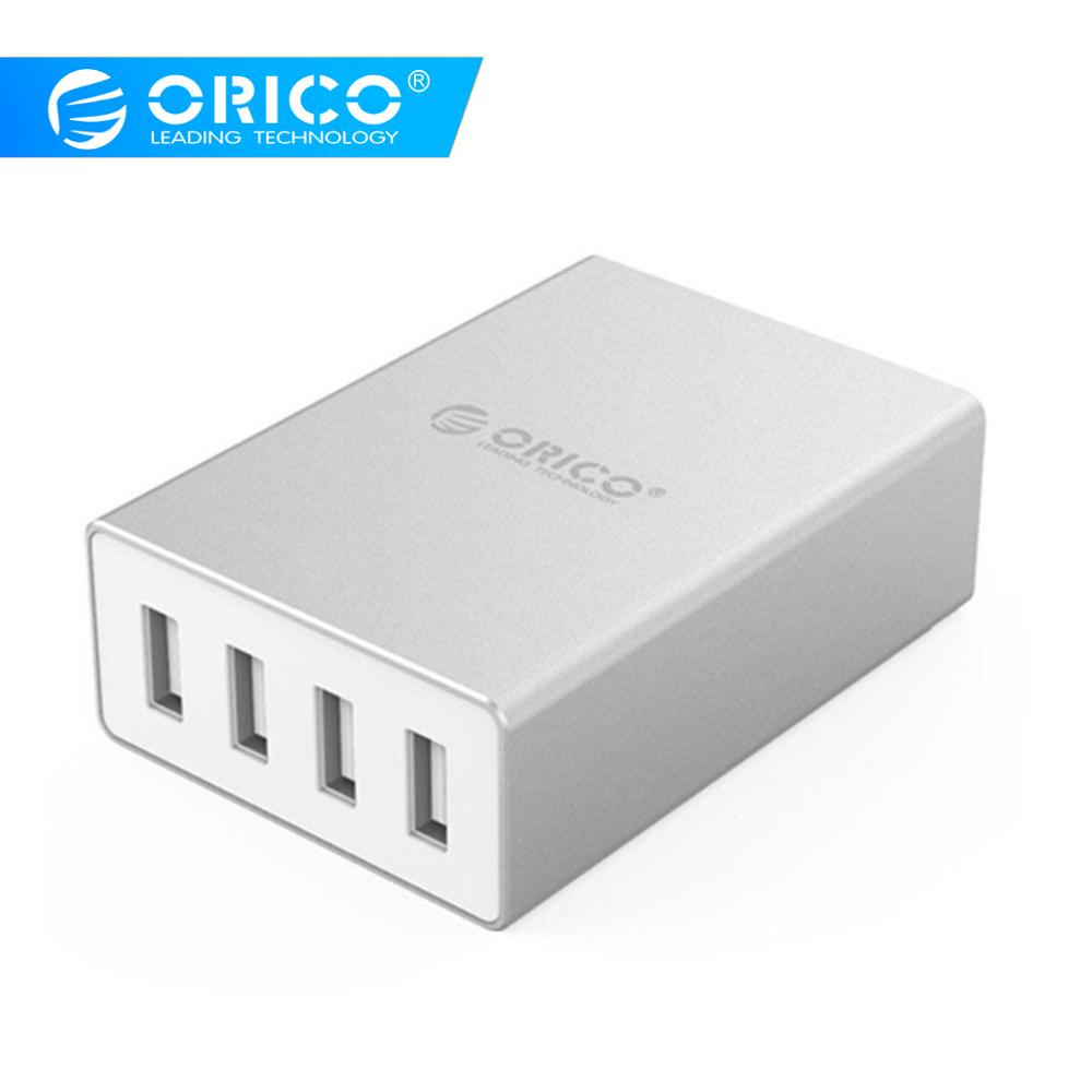 ORICO ASK-4U Aluminum 4 Ports Smart Charger 5V6.0A30W Output for iPhone Tablet Xiaomi HTC SONY - Si
