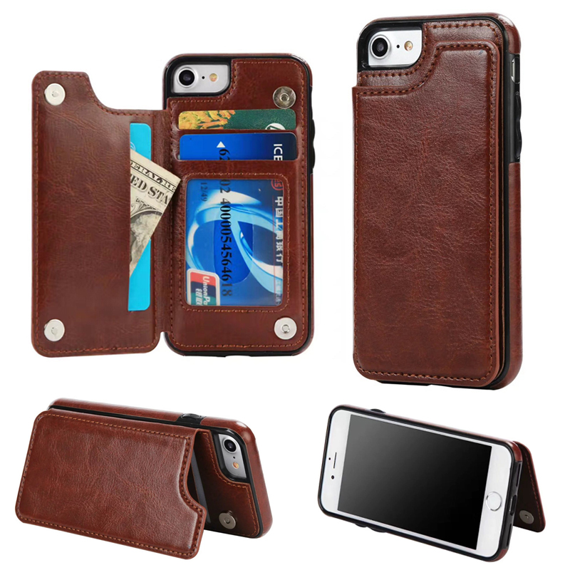 BINYEAE For iPhone X Case Leather Luxury With Card Slot Holder Photo Frame Kickstand TPU Silicone Cover For iPhone 6 6S 7 8 Plus