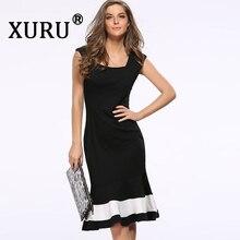 XURU summer womens new dress sexy waist slim Slim sleeveless color fishtail casual black