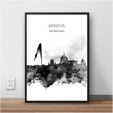 Abstract Print PosterWatercolor GENEVA Switzerland World City Painting Living Room Home Decor Bar Cafe 42x30cm Wall