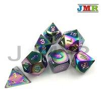 Polyhedral Rainbow Color 7 die Set Dados Metal for Rpg Dice Rolling,Set of D4 D8 D10 D10% D12 D20 Dnd with Iron Box