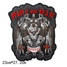 86bdfacb737c1 large Embroidery Ride or die Patches Biker Patches skull Motorcycle MC  IRON- ON Back motor racing for Jackets vest