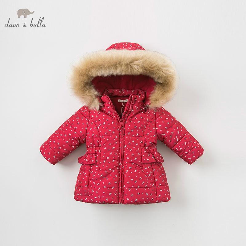 DBM9200 dave bella winter baby girls flowers hooded coat infant padded jacket children high quality coat
