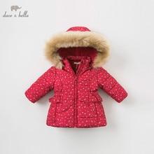 DBM9200 dave bella winter baby mädchen blumen mit kapuze mantel infant gepolsterte jacke kinder hohe qualität mantel kinder gepolstert oberbekleidung