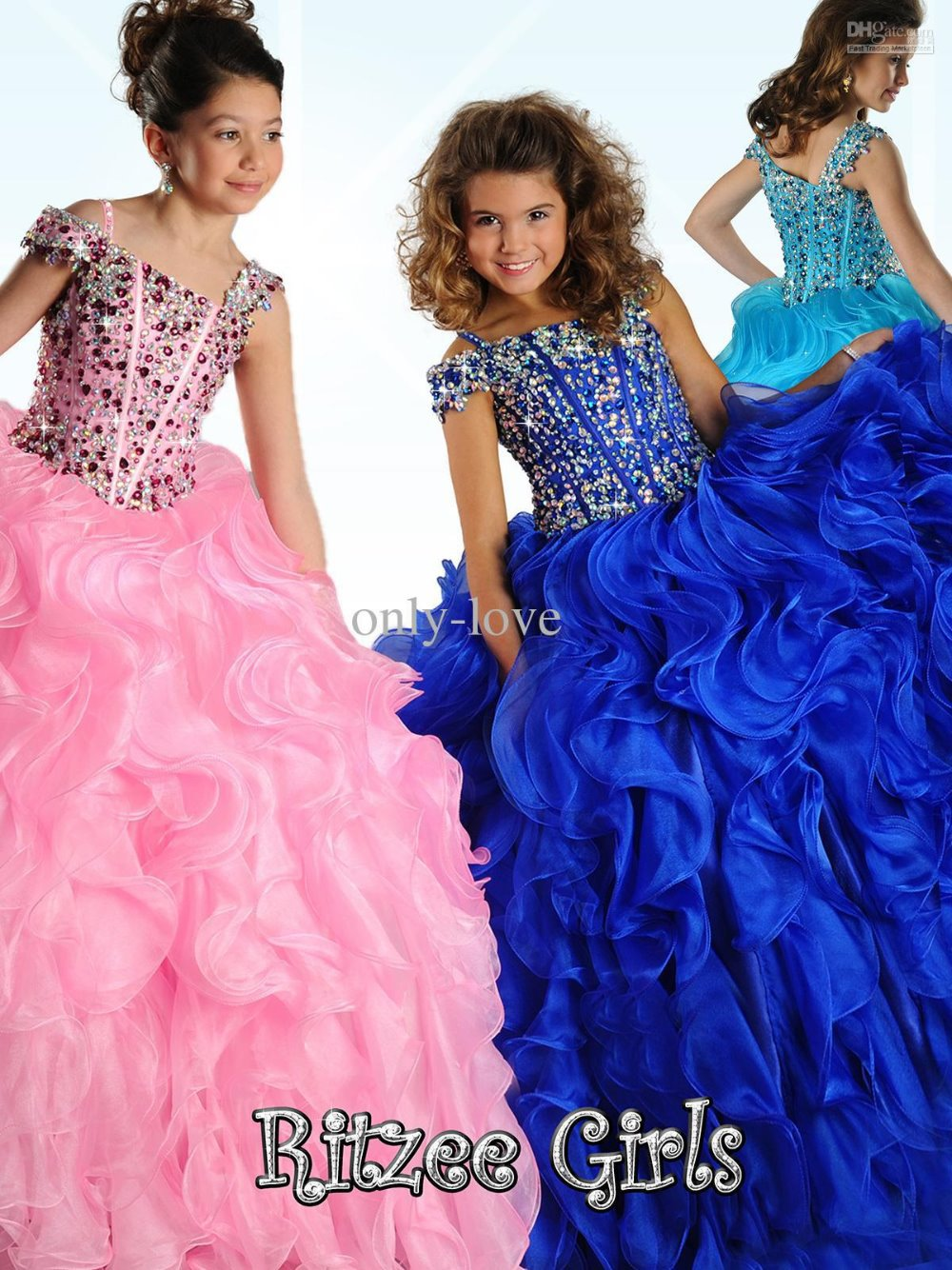 Flower     Girl     Dress   2015 new A beauty pageant   dress   crystal vestidos long formal evening prom gown party custom Communion   Dresses