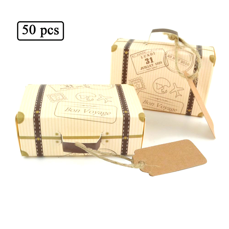 50pcs Bon Voyage Kraft Paper Candy Box Travel Theme Retro Suitcase DIY Wedding Favor Candy Holder Bags Gifts Boxs Party Supplies