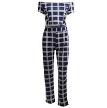 Women classic grid short sleeve tops + pants set women's fashion slim jumpsuits lady's bodycon rompers woman clothes suit