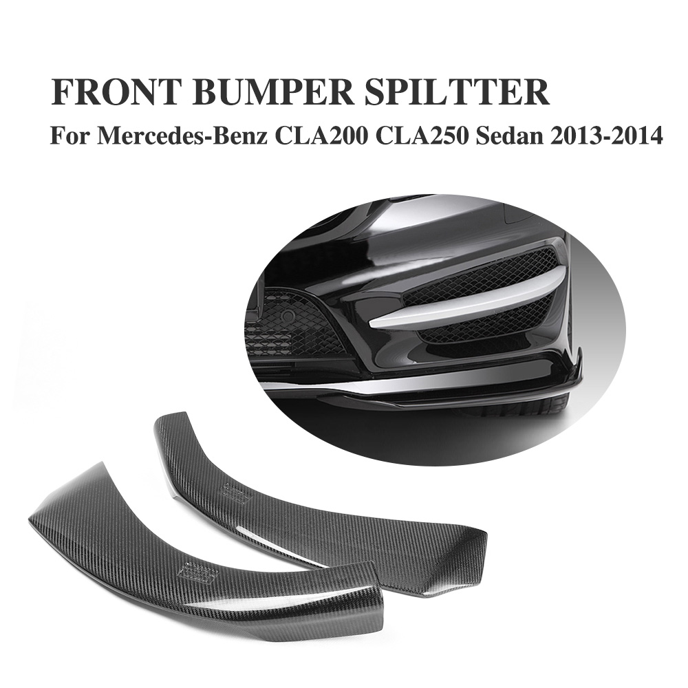 Carbon Fiber Front Lip Side Splitters Aprons For Mercedes Benz C117 CLA250 260 CLA45 Sedan 4 Door 2013-2014 Non AMG цена