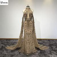Surmount New Arrived Customized Prom Dress Beading Halter Neck Party Dress Spaghetti Strap Sleeveless Vintage Evening Dress