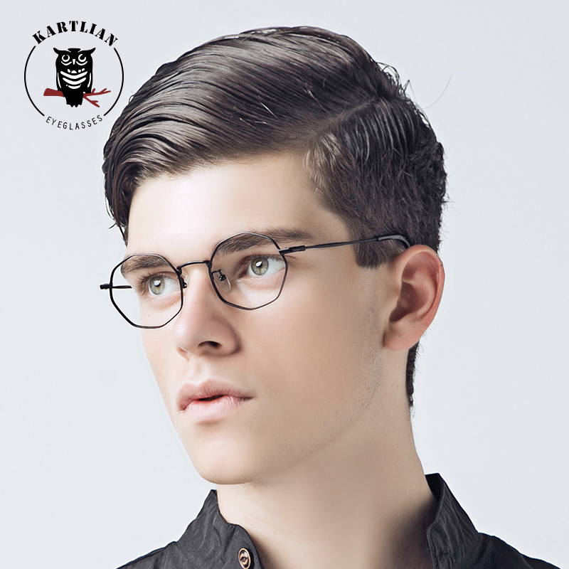 Kartlian Round polygon Metal Wrap Eyeglasses Vintage Retro Frame Glasses Optical Prescription Glasses for Women and Men